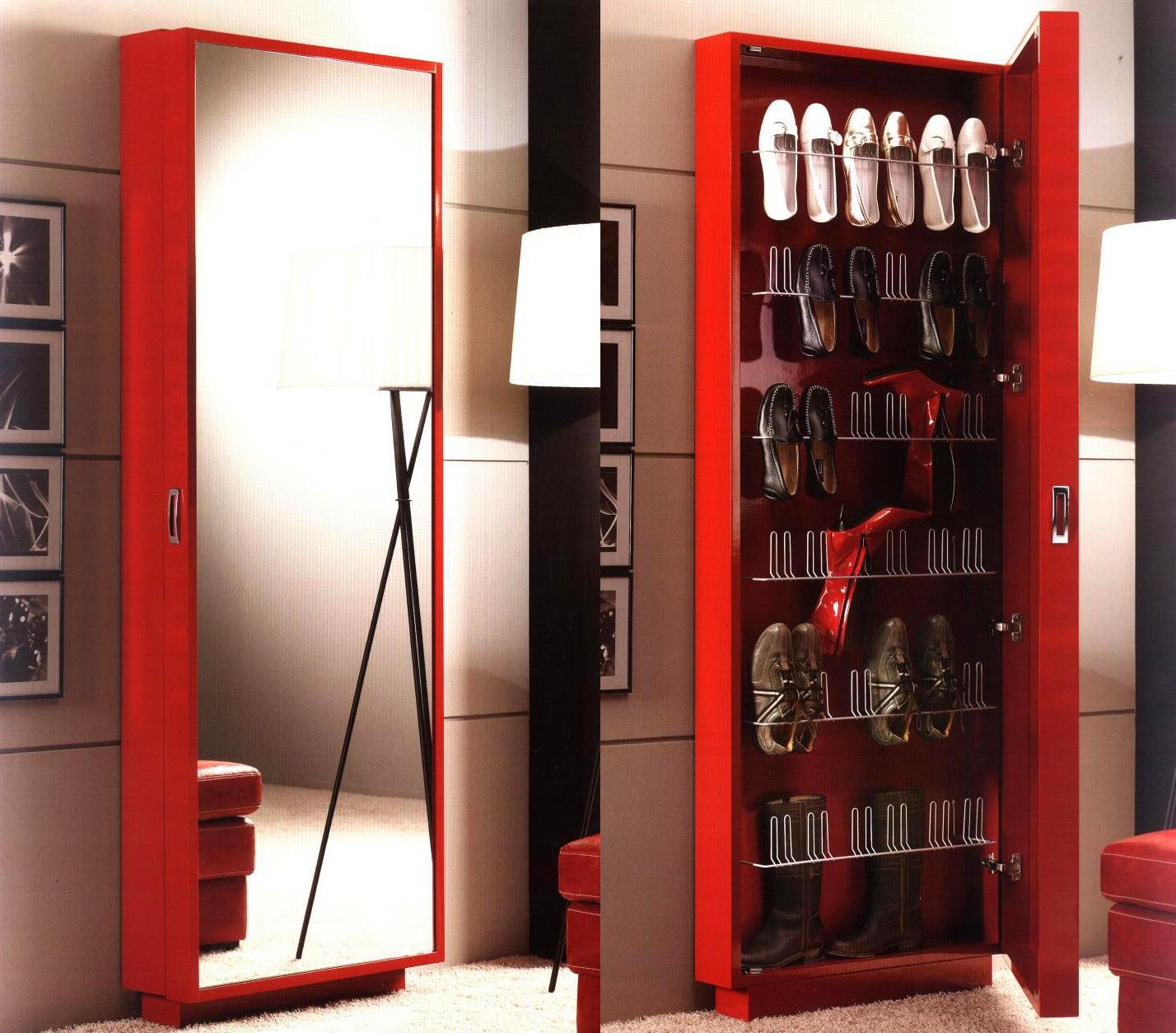 Тумбы для обуви с зеркалом очень вместительны и удобны в использовании