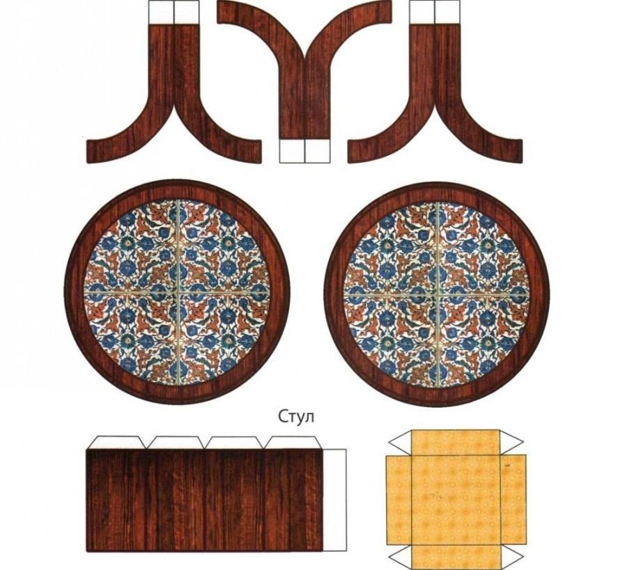 Для изготовления бумажной мебели для кукол стоит использовать плотный картон