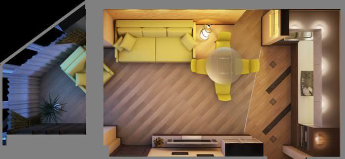 Сам гарнитур в кухне занимает небольшую площадь, поэтому установка кухонного острова сделает кухню еще функциональнее, не в ущерб удобству