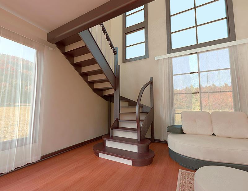 П-образная лестница: на второй этаж с площадкой, 180 градусов, онлайн-расчет своими руками, размеры и фото