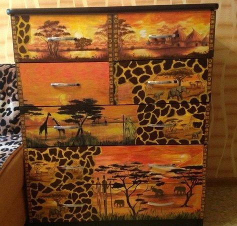 Африканский декупаж: картинки в стиле, темы для бутылок и мебель сафари