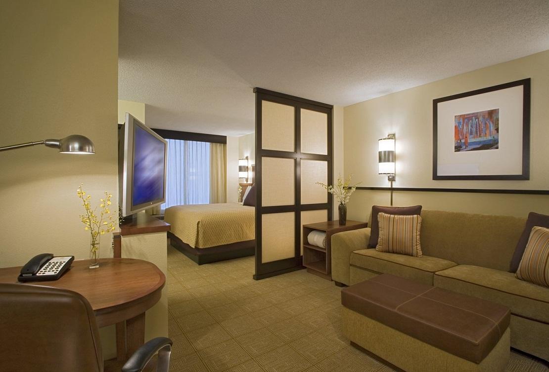 Если зал совмещен со спальней, то выполнить зонирование можно с помощью декоративной деревянной или гипсокартонной перегородки