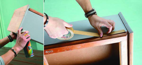 Перед покраской обязательно оклейте мебель скотчем, чтобы окрасить только те элементы, которые необходимо