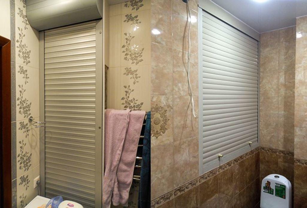 Если вам нужно скрыть коммуникации в ванной комнате, тогда лучше выбирать сантехнические жалюзи