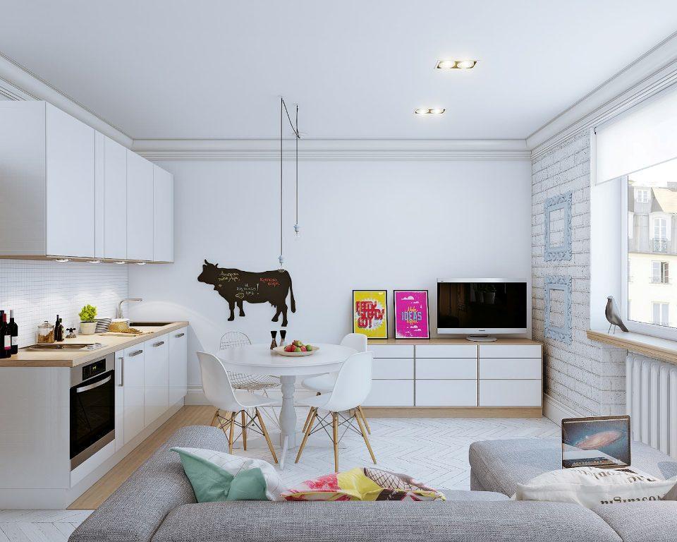 Скандинавский стиль на кухне-гостиной характеризуется светлыми холодными оттенками и удобной легкой мебелью