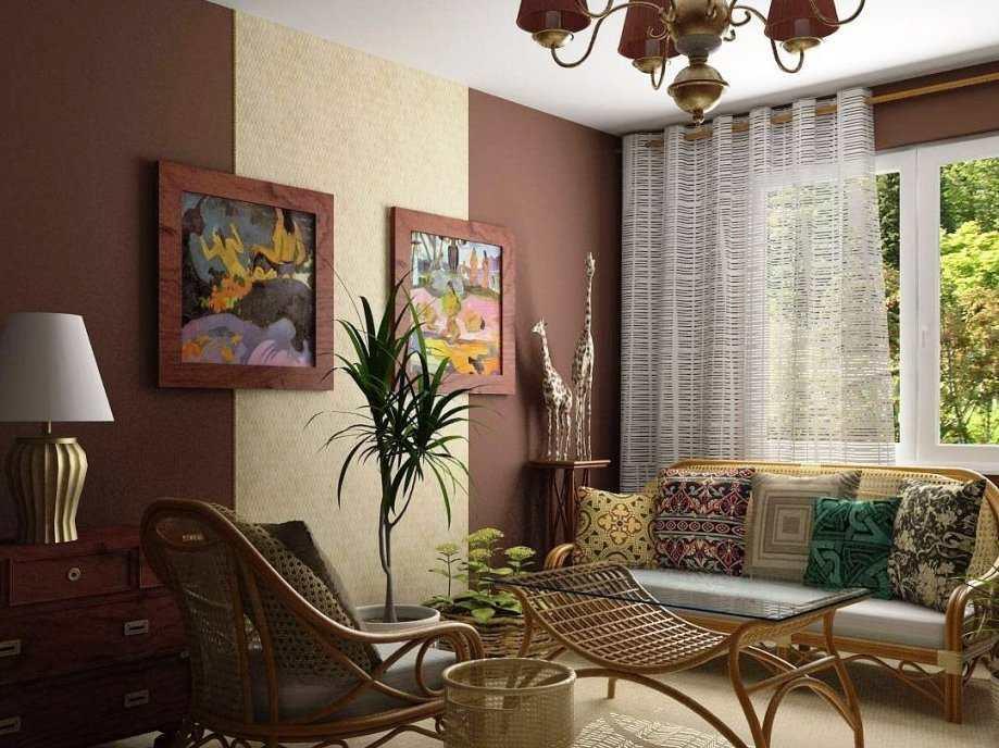Комбинирование обоев вертикальными полосами значительно увеличит высоту комнаты визуально
