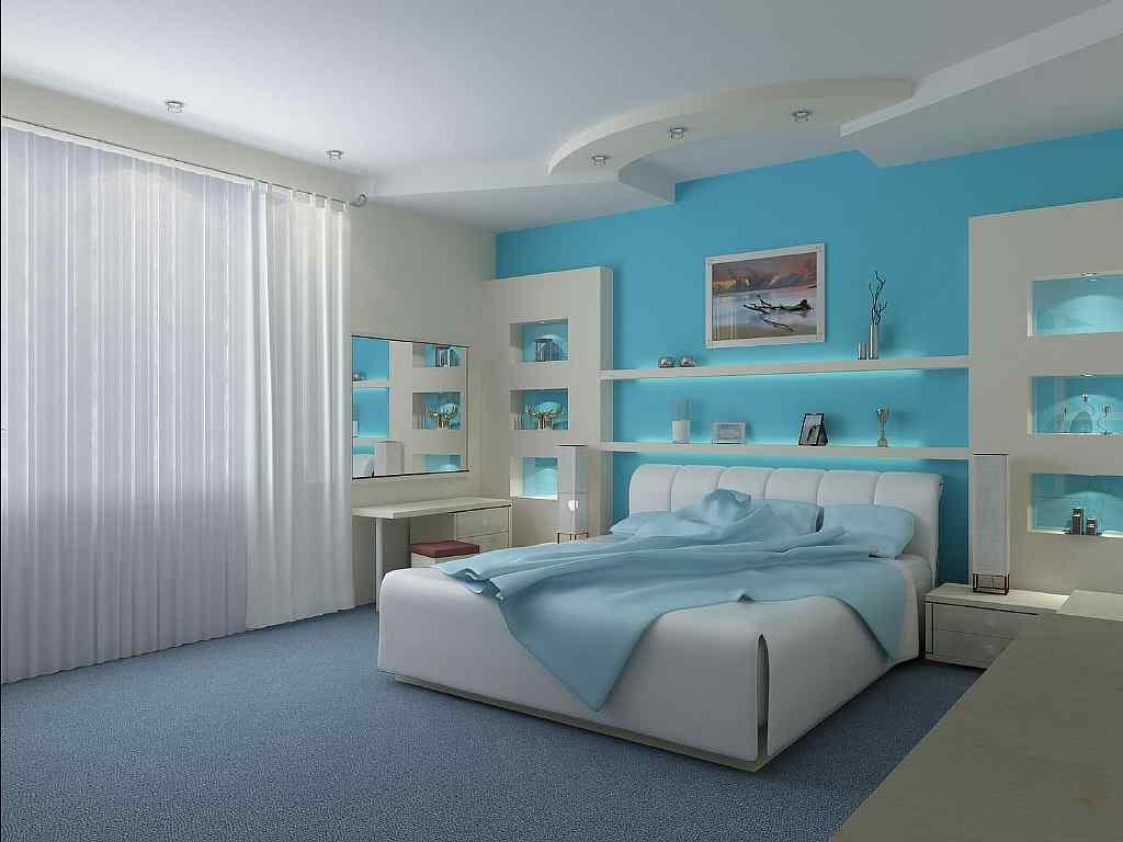 Бирюзовые обои будут отличным вариантом для спальни: помимо того, что они успокаивают психику, они способны увеличить пространство