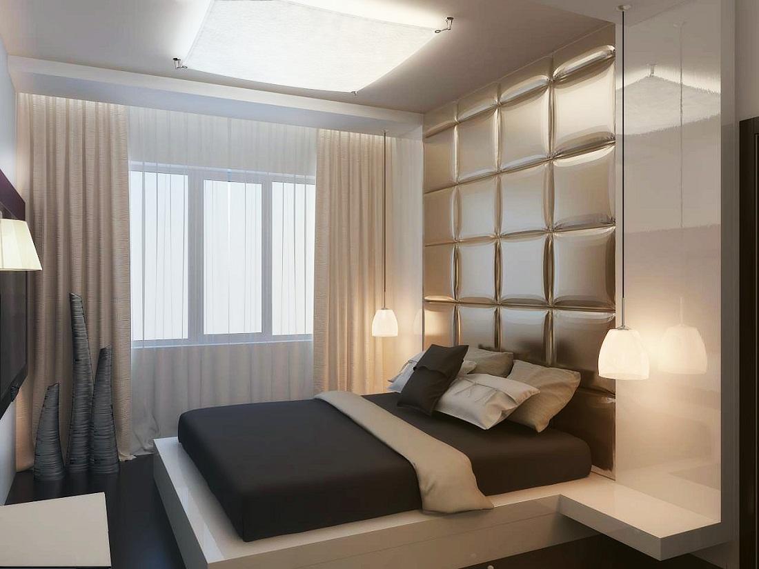 Отличным решением для спальни, которая имеет площадь 12 кв. м, является использование стиля минимализм при оформлении интерьера, который предусматривает наличие минимального количества мебели