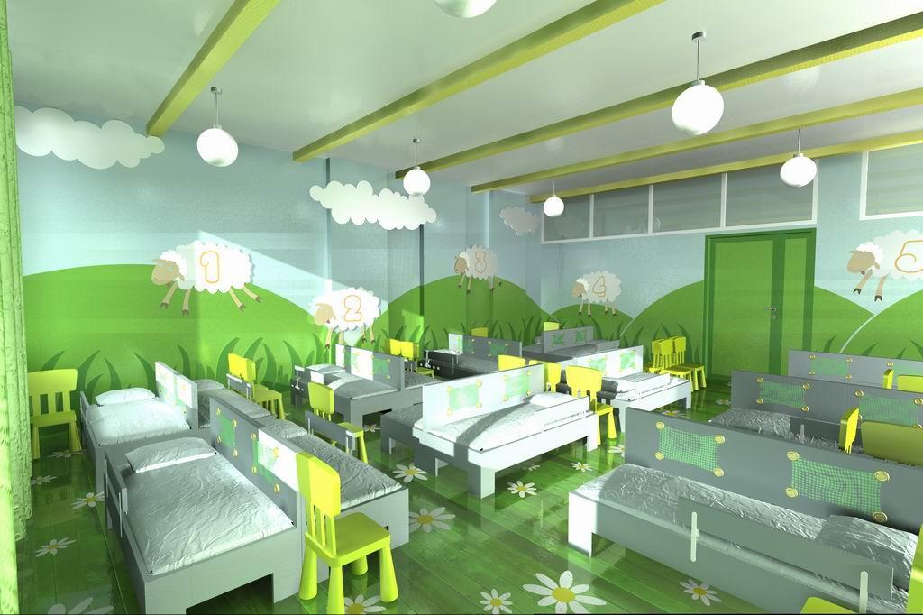 Для того чтобы спальня в детском саду нравилась детям, ее можно оформить оригинальными декорациями, превратив обычное помещение в красивую сказку