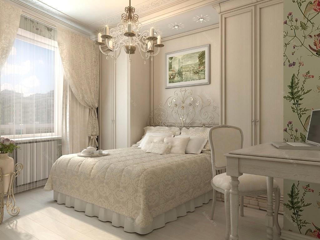 Для того чтобы маленькая спальня смотрелась очень красиво, лучше всего для отделки стен использовать светлые тона