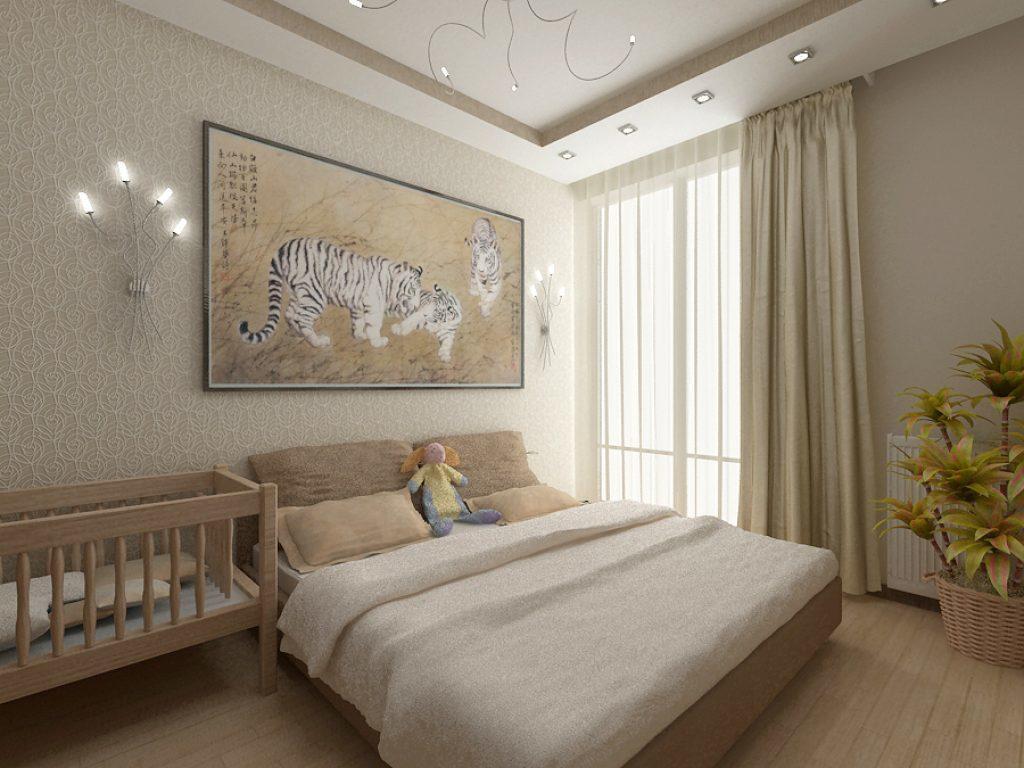 В спальне 14 кв.м необходимо вместить кровать для родителей, кроватку для малыша, а для хранения вещей прекрасно подойдет шкаф-купе
