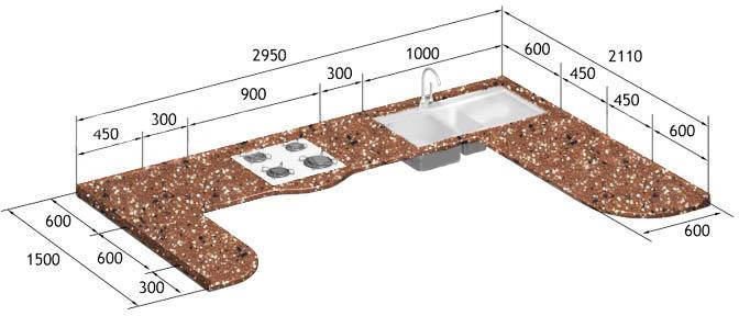 Пример чертежа столешницы для кухни