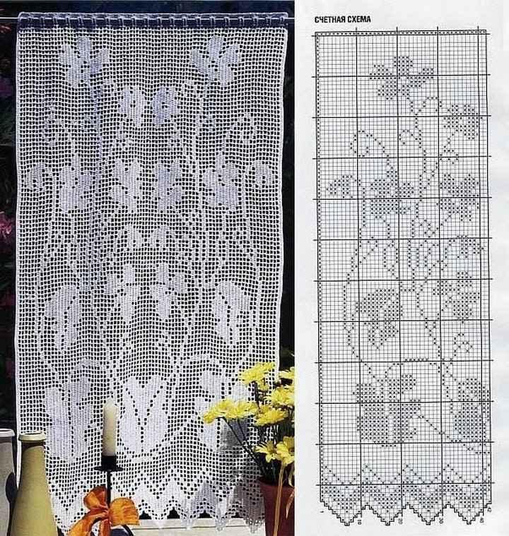 Схема вязки ажурной занавески