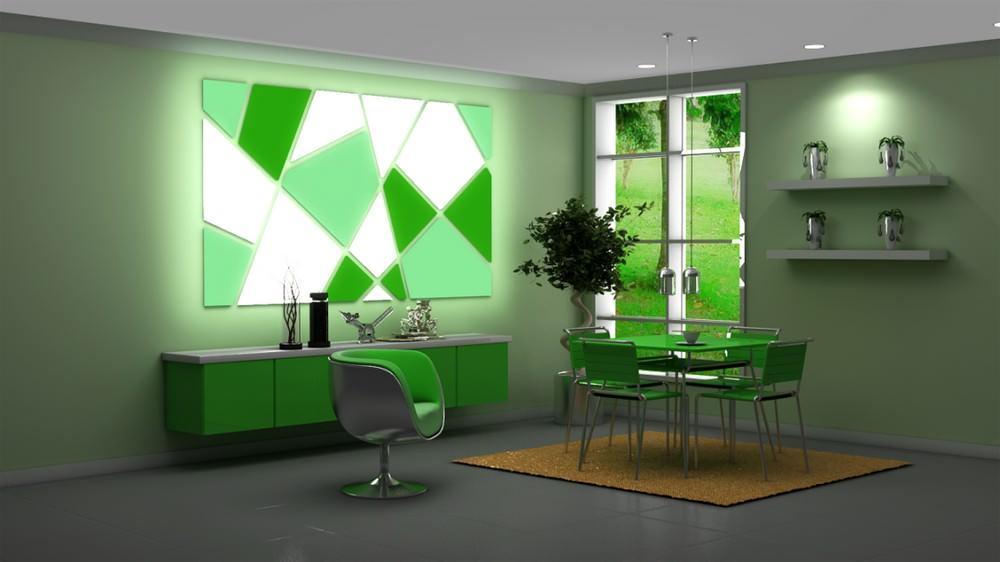 Световые панно хорошо смотрятся на стенах нейтрального цвета, в неперегруженных мебелью интерьерах, и в помещениях, где им найдется некоторая цветовая, сюжетная или акцентная «перекличка»