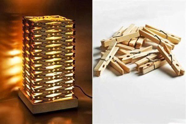 Оригинальный светильник можно изготовить из обычных прищепок