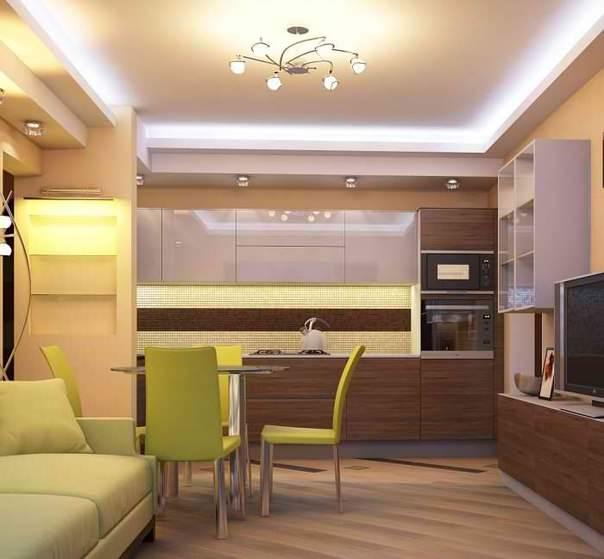 Преимущество такого переноса в том, что кухню можно превратить в полноценную комнату отдыха