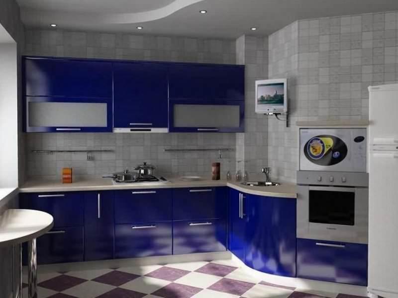 Для кухни 8 кв м нестандартной планировки оптимально подходит однорядное расположение мебели