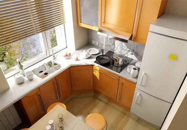 Эргономичное использование кухни малой площади делает ее интерьер более уютным