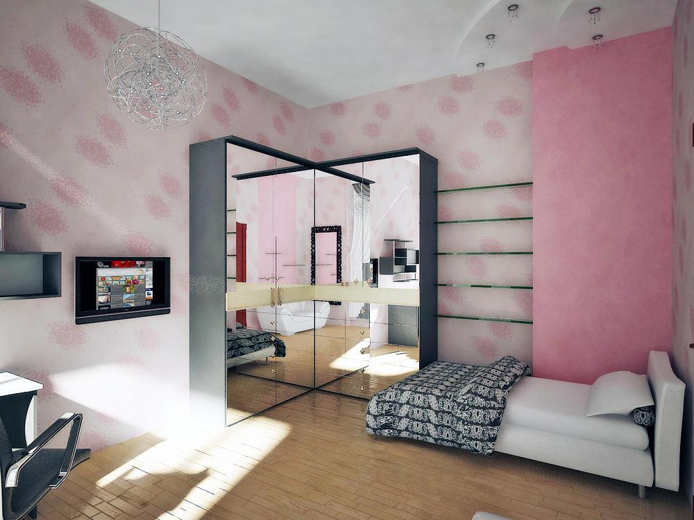Для маленькой спальной комнаты идеальным вариантом будет шкаф с зеркалом, который визуально расширит комнату