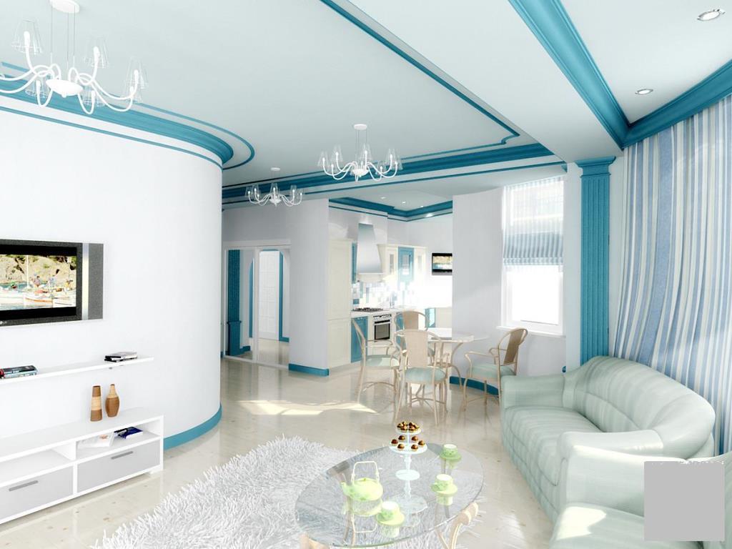 Интерьер с применением сочетаний белого и синего цвета всегда получается интересным, ярким, неординарным, создает уютную атмосферу в гостиной