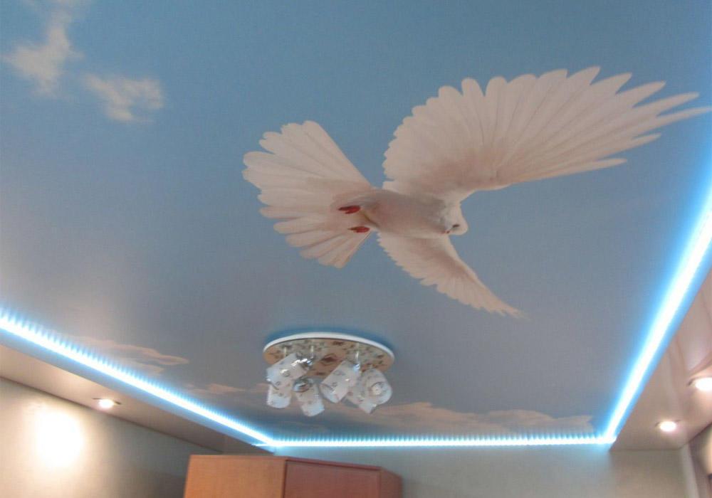 С помощью обоев и красок на потолке можно создать любую картину, которая прекрасно впишется в интерьер комнаты