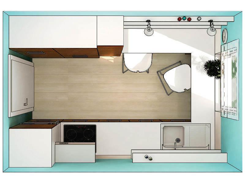 Наиболее привлекательное расположение мебели в маленькой кухне