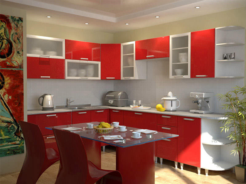 Сама по себе мебель - доминирующий элемент дизайна кухни, поэтому именно ее рекомендуется подчеркнуть и дополнить