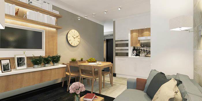 Зоны кухни и гостиной можно эффектно разделить перегородкой, чтобы можно было изменять ее дизайн одним движением