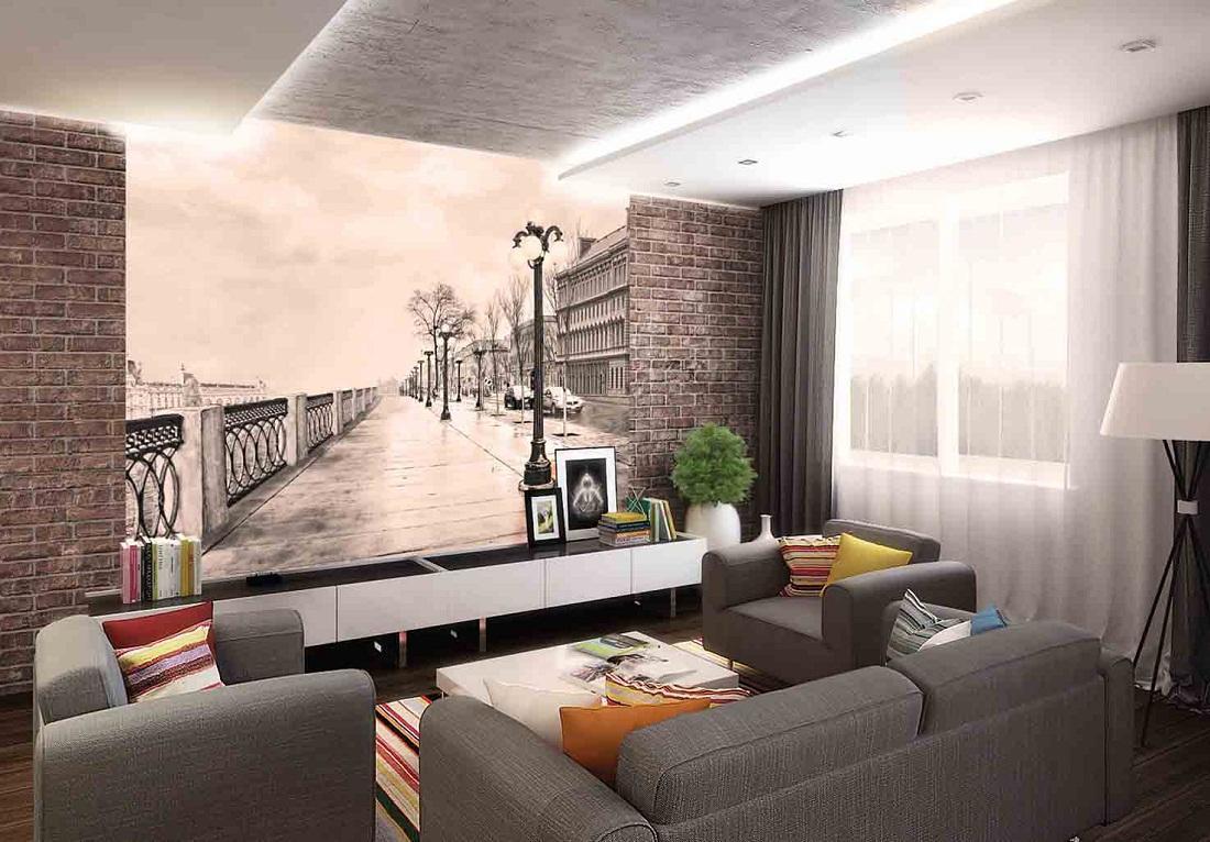 Придать интерьеру зала оригинальности способны объемные обои с фотопечатью, на которых изображена фотография, тематика которой нравится хозяевам квартиры