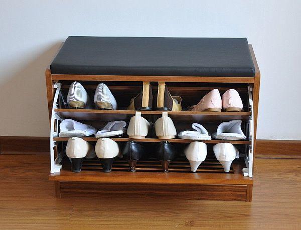 Пуфик с ящиком для обуви позволит удобно сохранять ваши личные вещи