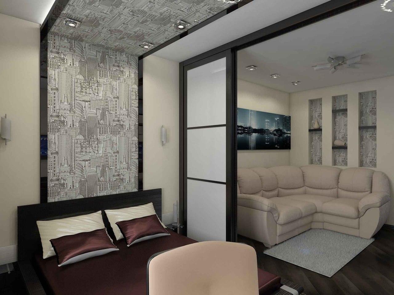Зонирование в спальне-гостиной обязательно должно быть продумано таким образом, чтобы нашлось место для спальни, зона для гостей и место для хранения вещей