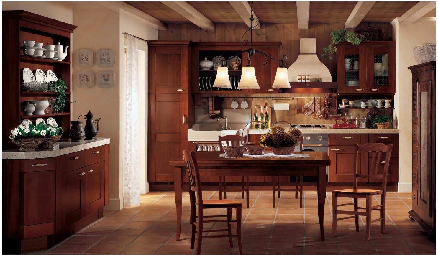 Керамическая плитка на полу и деревянные балки потолка помогут создать необходимую атмосферу