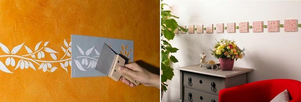 Как альтернативу, для бордюра на обои можно использовать декоративную штукатурку или штучный декор