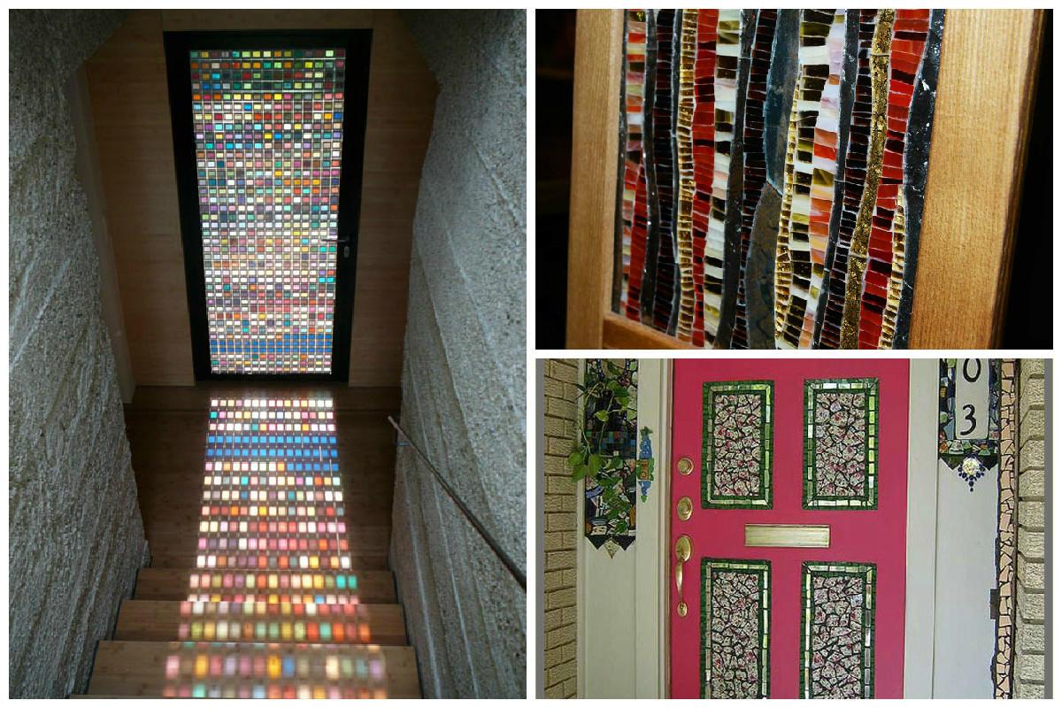 При оформлении двери можно подбирать различные текстуры для декорирования