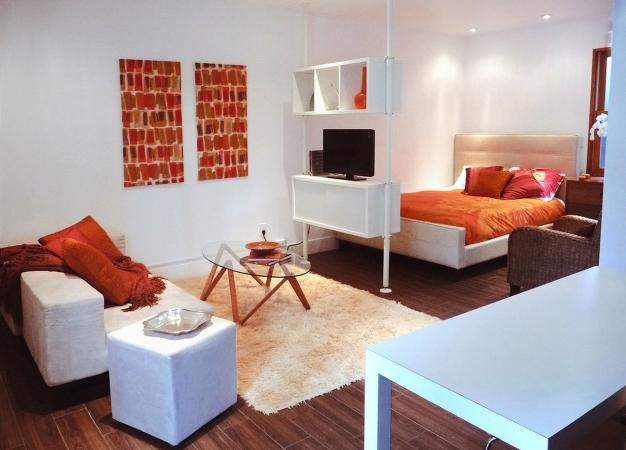Разделив комнату на несколько зон можно получить уютное спальное место и стильную гостиную