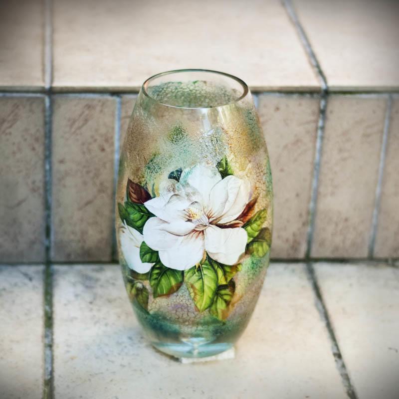 0125 Декупаж стеклянной вазы: мастер-класс и пошаговая инструкция, как за декорировать сосуд своими руками