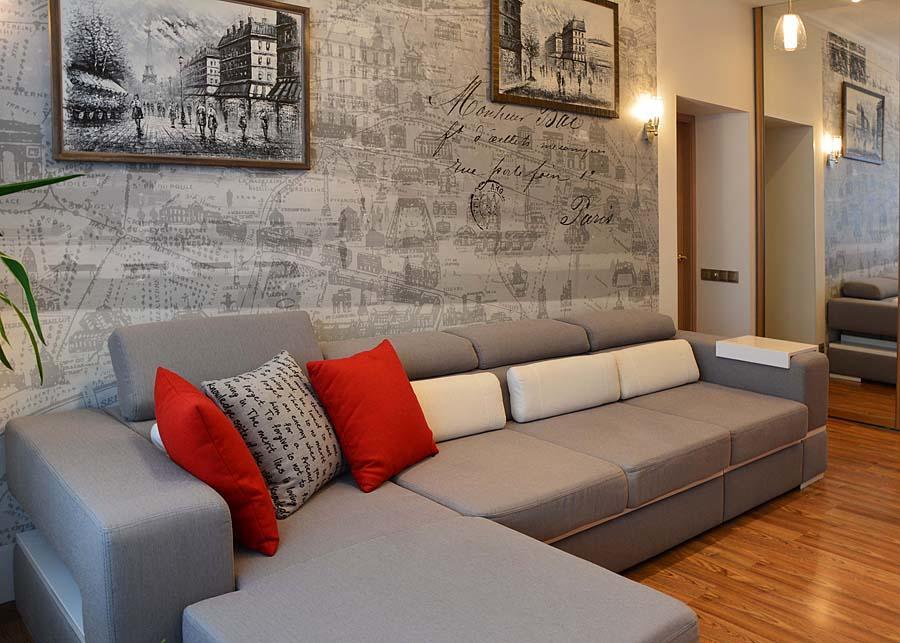 угловой диван в узкой комнате фото современного