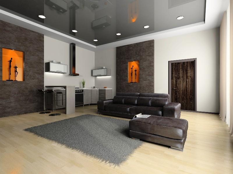 Наиболее популярными на сегодняшний день являются натяжные потолки серого оттенка, которые органично дополняют интерьер помещения