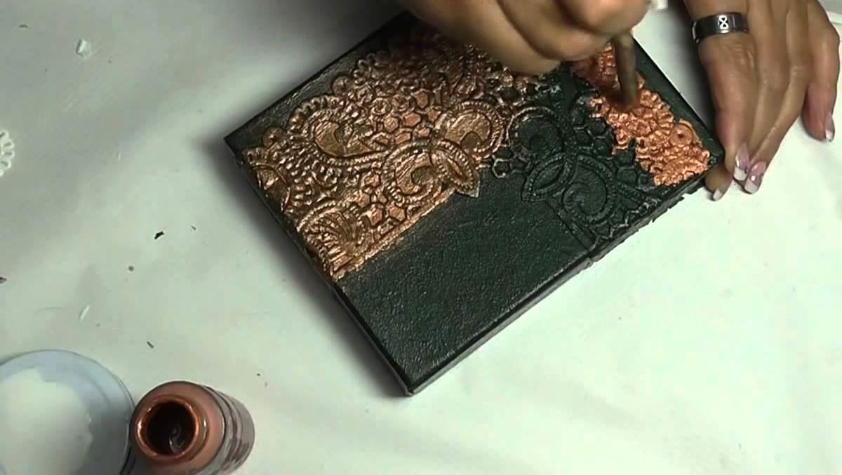 151616 Имитация камня в декупаже: мастер-классы и видео, мрамор и металл, с кожей МК, вуаль и состаривание чеканки