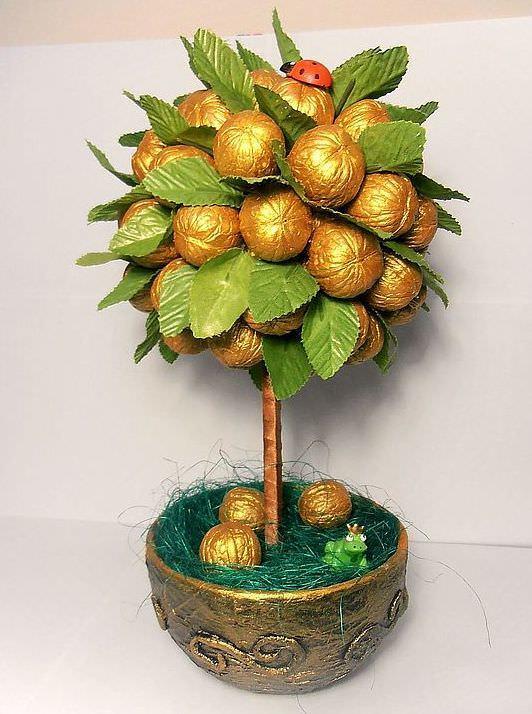 17246643 Топиарий осенний: мастер класс фото, своими руками поделка, дерево дары пошагово, золотая мк, букет из природных материалов на тему