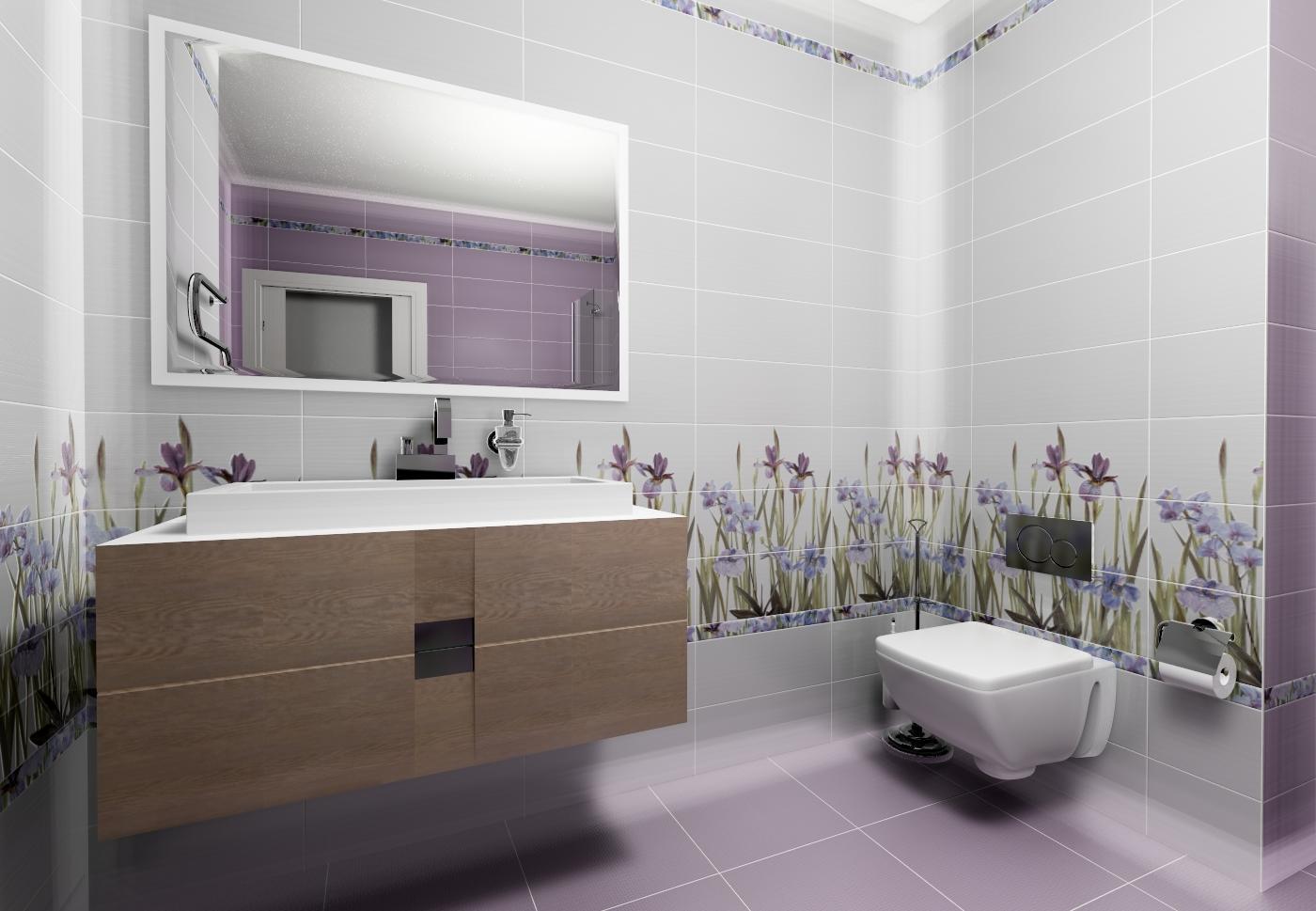 Яркие расцветки плитки в сочетании со светлыми тонами придадут ванной комнате ощущение большого пространства