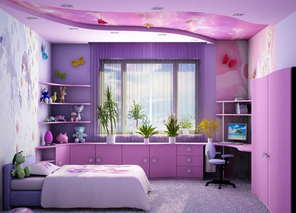 Для того чтобы создать невероятную сказочную атмосферу в комнате, необходимо как потолок, так и саму комнату оформлять в одном стиле