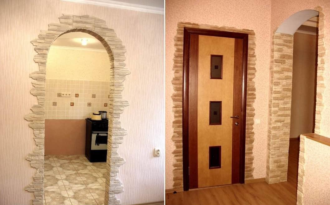 фото отделка декоративным камнем дверей на кухне ради достойных проводов