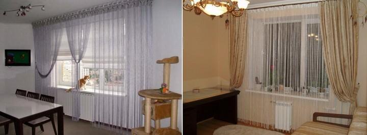 Белые шторы нити обычно используются для визуального увеличения комнаты
