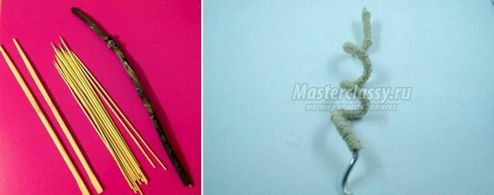 Для ствола также можно использовать сухие веточки, палочки для суши или жесткую проволоку