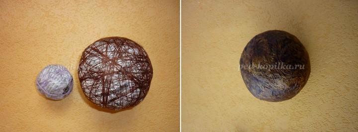 Пенопластовая заготовка или любая другая основа оклеивается бумагой, обматывается нитками и выкрашивается