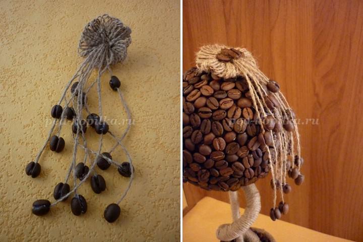 После того, как все окончательно застыло, можно верхний слой покрыть слоями кофе, или, например, стружками, опилками. Декор для деревца выполняется на свое усмотрение