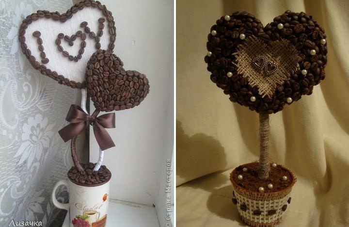 Топиарий из кофейных зерен в форме сердца может быть выполнен в разных конфигурациях