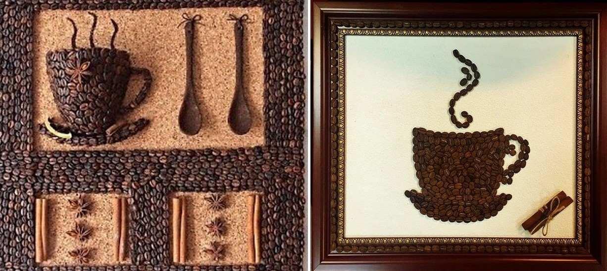 Кофейное панно можно украсить с помощью различных декоративных элементов: к примеру, с помощью палочки из корицы или сладостей
