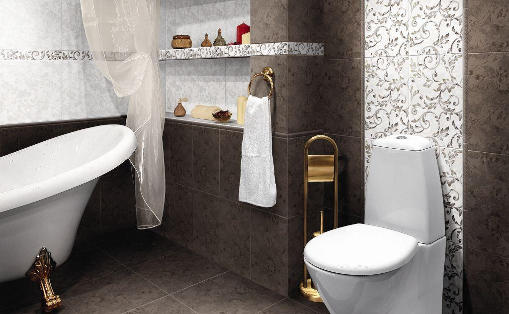 Классический узор на плитке компании «Керамин» придает ванной элегантности